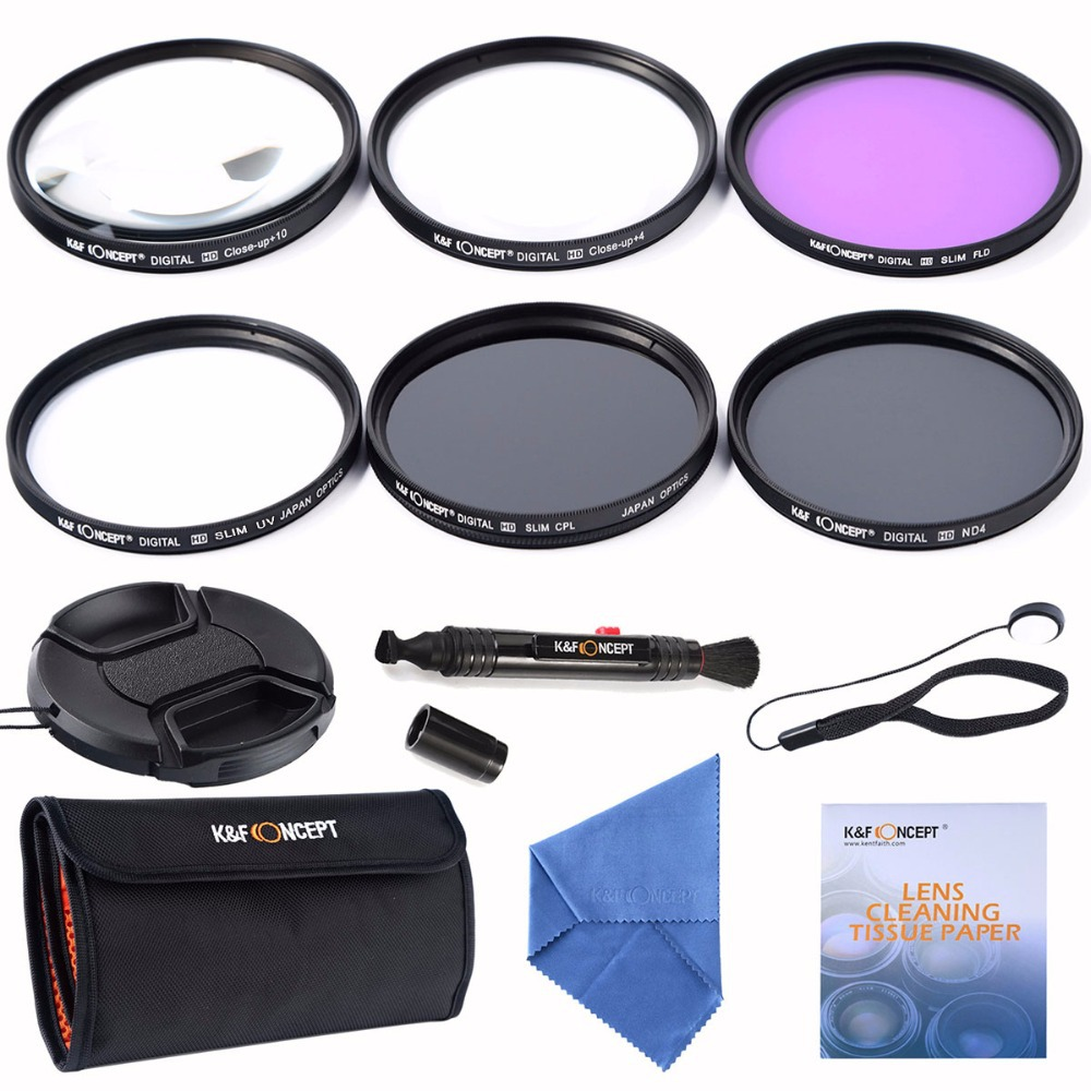 K&F Concept 67mm Slim UV CPL FLD ND4+Macro Close Up +4+10+ Cleaning kits Lens Filter For Nikon D7100 D5100 D3100 D3200 D7000(China (Mainland))