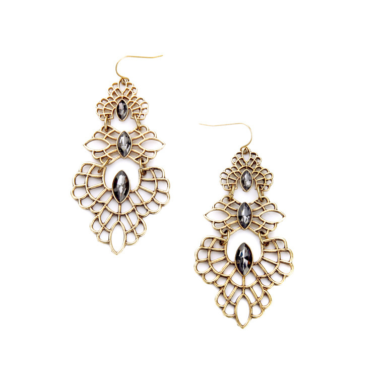 2016 New Style Antique Gold Plated Filigree Flower Earrings With Marquise Crystal Art Deco Famous Brand Jewelry Supplier E2269(China (Mainland))