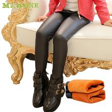 New Fashion Winter Thick Fleece Warm Girls Leggings Skinny Black Kids Leather Pants Baby Girls PU Boots Teenagers Cool Trousers(China (Mainland))