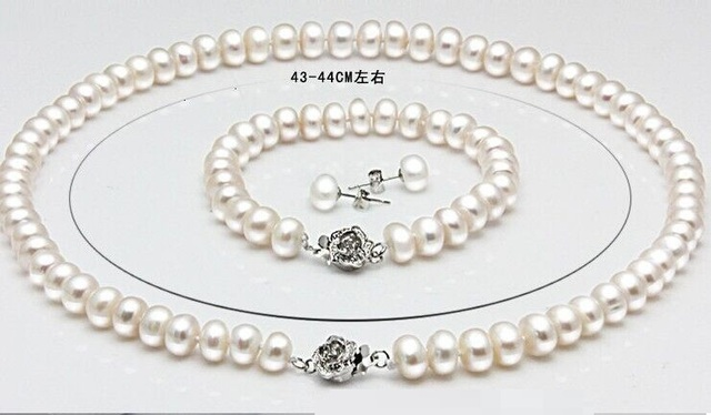 Genuine freshwater pearl necklace bracelet 925 silver earrings 3 sets bridal jewelry set free shipping gifts for women