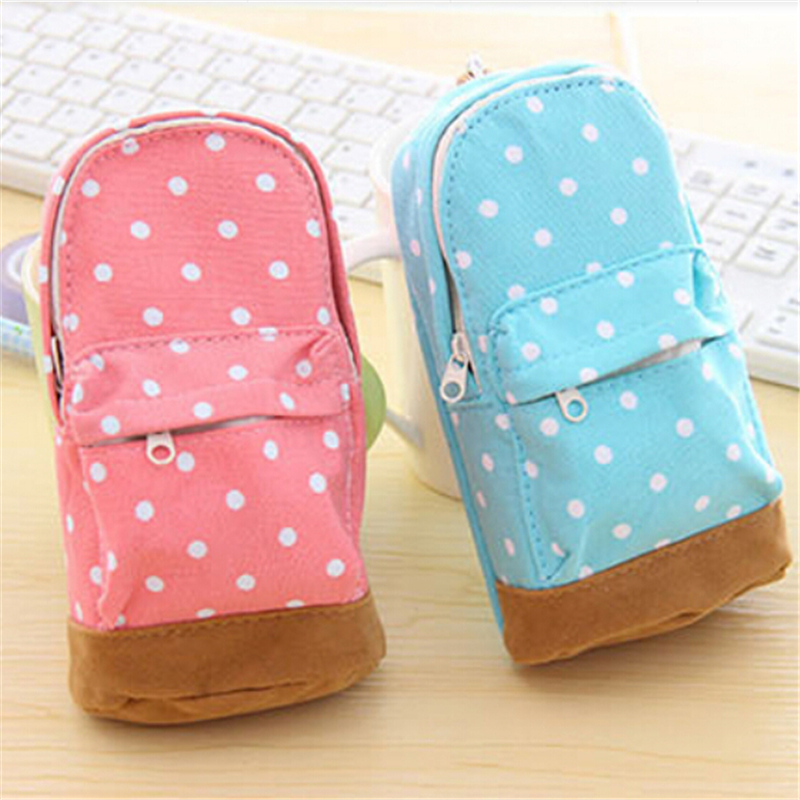 Free shipping Cute big capacity pencil case Dot pattern wallet School Pencil bag for kids Stationery Gift 2512(China (Mainland))