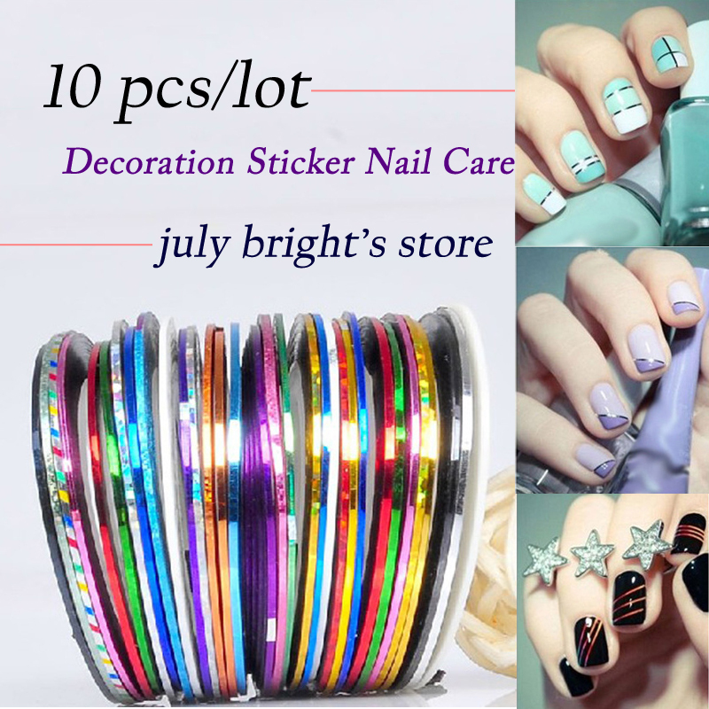 Free shipping! 2015 Profession 10Pcs Mixed Colors Rolls Striping Tape Line DIY Nail Art Tips Decoration Sticker Nail Care MJ04-1(China (Mainland))