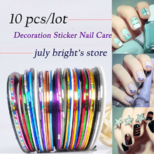 Free shipping! 2015 Profession 10Pcs Mixed Colors Rolls Striping Tape Line DIY Nail Art Tips Decoration Sticker Nail Care MJ04-1