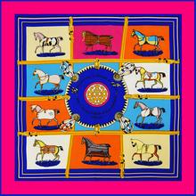 100cm*100cm 100% Twill Silk Euro Brand Horse Design Women Square Scarf Spring Female Scarves Shawl 2016(China (Mainland))