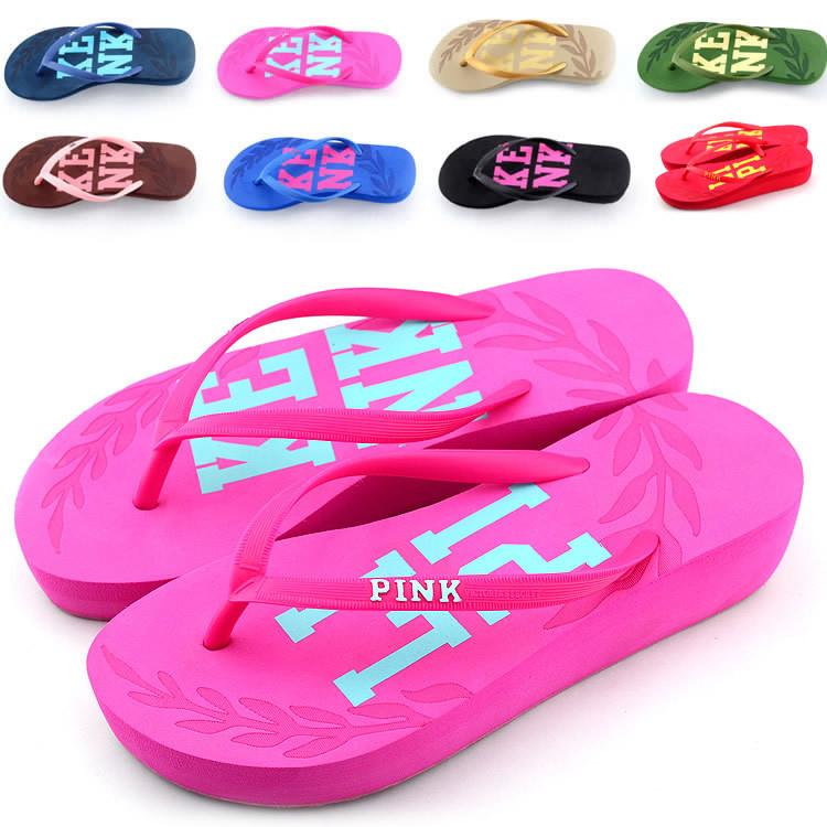 2014 new Summer women's Leisure Beach Flats Sandals Ladies colors Flip Flops High Heels Slippers Female EVA Platform - Kixhome store