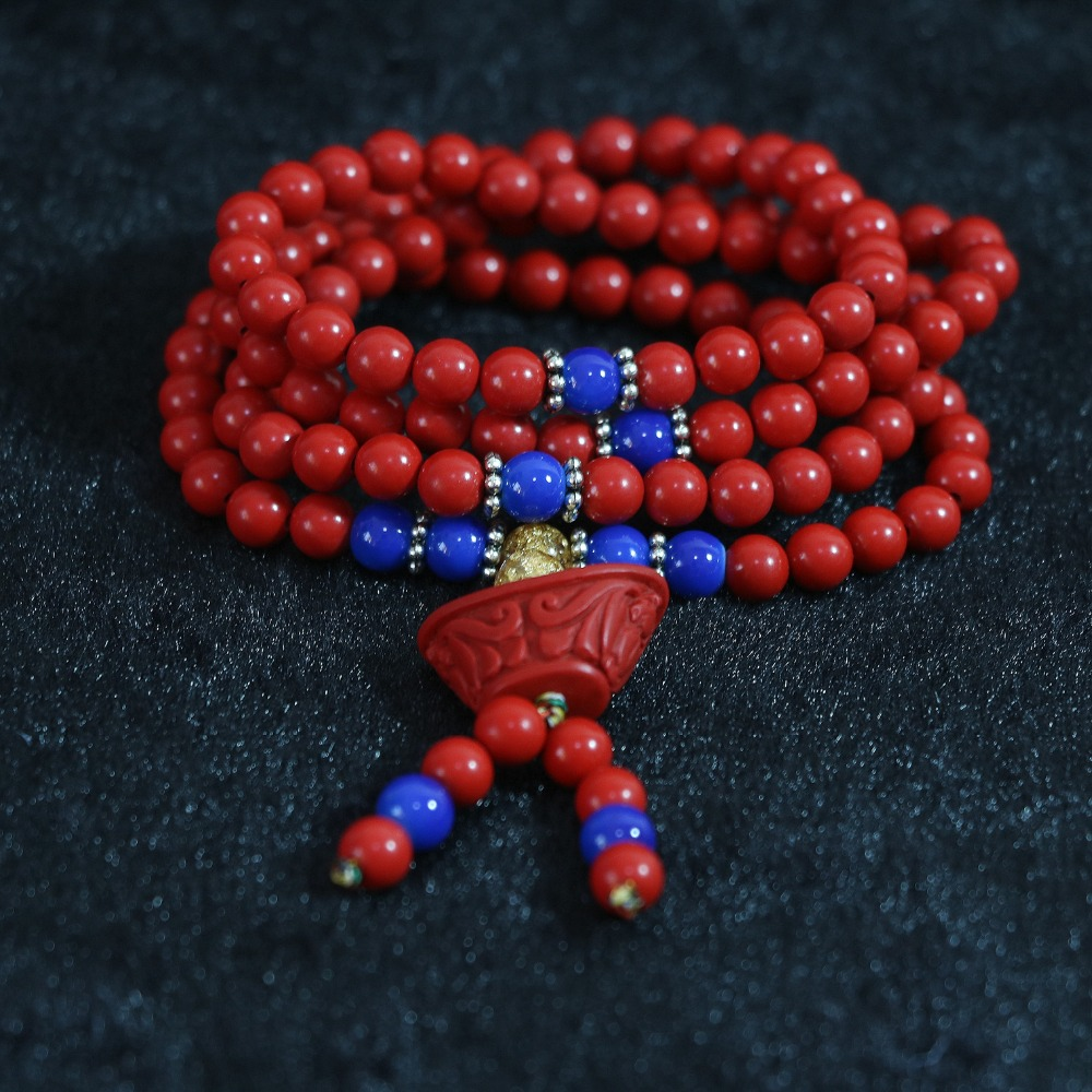 synthetic Red cinnabar 6mm 108 beads Multilayer bracelet blessing pendant with blue spacer beads bracelet B806(China (Mainland))