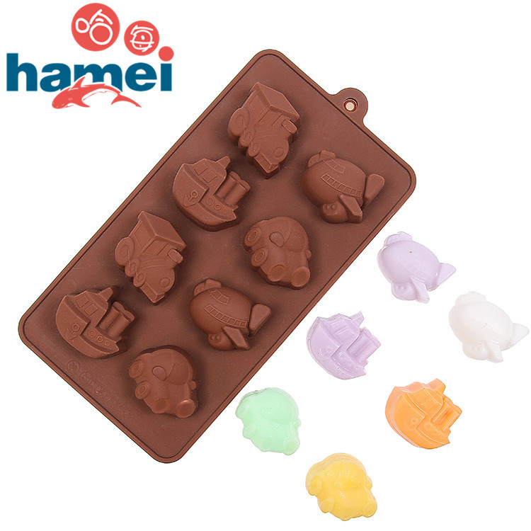 Silicone mold DIY chocolate ice hand soap mold 8 vehicles - motor vehicles ice mold popsicle Mold ice cream frozen tools(China (Mainland))