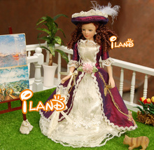 "6.7"" Porcelain doll model 1:12 dollhouse miniature Vitoria purple hat Lady(China (Mainland))"