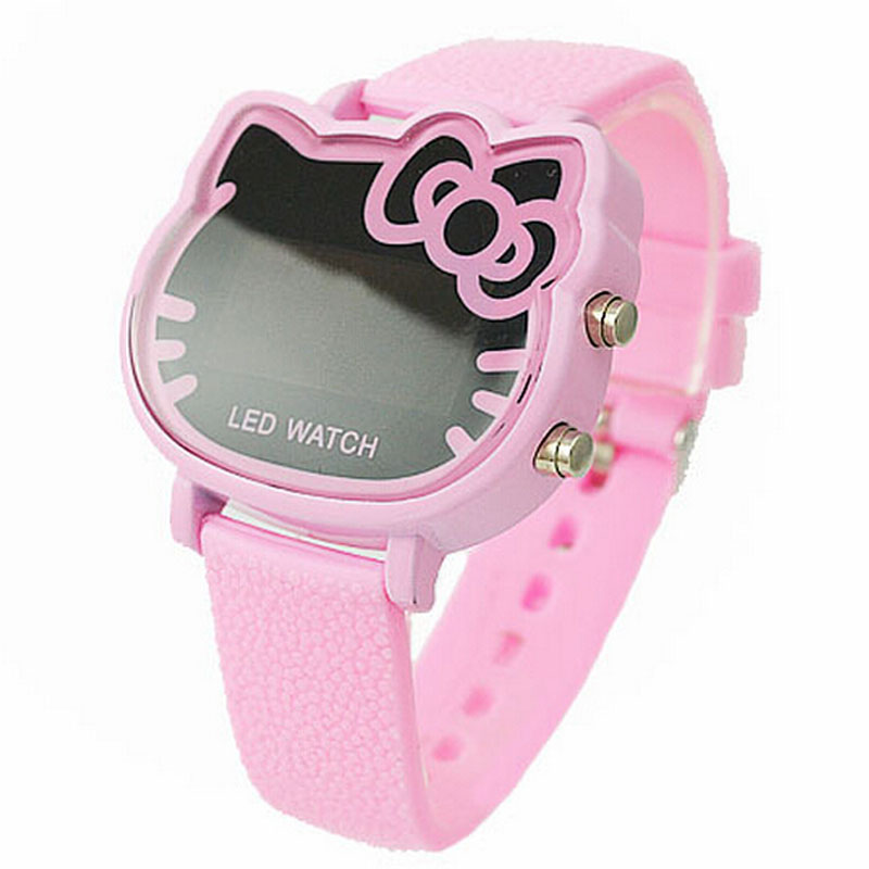 Hello kitty Cartoon Watch Children Girls Pink Rubber Band Led Digital Watches Fashion Clock Women Hour Relojes Relogio Feminino(China (Mainland))