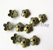 Tibetan Style  Zinc Alloy Bead Caps, Lead Free,Cadmium Free and Nickel Free, Flower, Antique Bronze Color, 6.5x3mm, Hole: 1mm