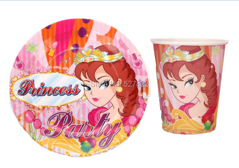 50pcs Cups + 50pcs PlatesThe princess 7inch Paper Disposable Plate and Paper Cups Tableware for Birthday Party Free Shipping(China (Mainland))