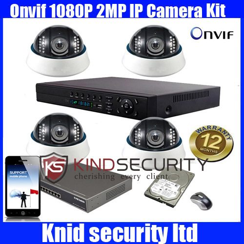 4ch NVR with 4pcs IR waterproof 1080p dome IP Camera system(China (Mainland))