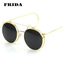 2016 New Fashion Flip Double Round Sunglasses Women Men Circle Retro Coating Steampunk Sunglass oculos espelhado feminino de sol