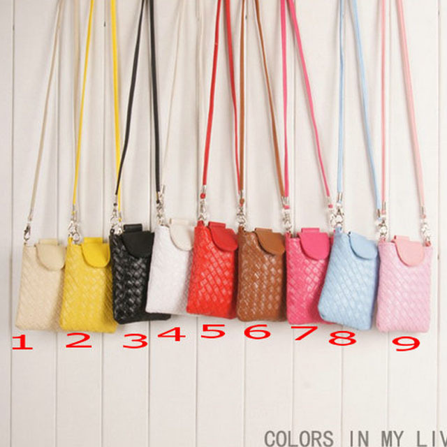 1pcs/lot Free Shipping Newest Leather Mobile Bag Neck Strap Pouch Case For iPhone 6 4.7 inch(Hong Kong)