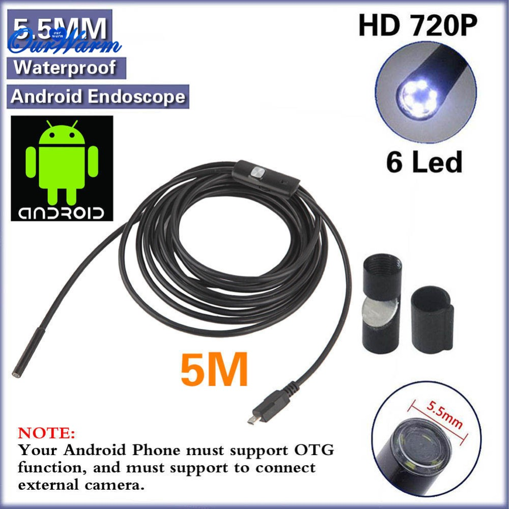 DHL 20pcs/lot Android USB Endoscope 6 LED 5.5mm Lens Waterproof Inspection Borescope Tube Camera with 5M Cable(China (Mainland))
