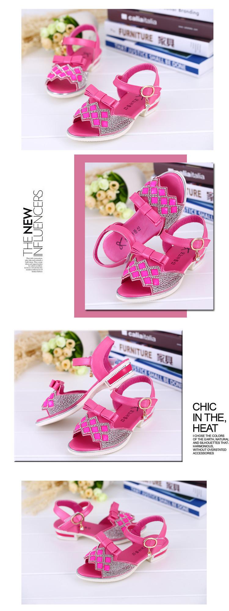 Мода горный хрусталь детская обувь детская обувь девочек боути сандалии meninas sandalias 3 цвет размер 32 - 37