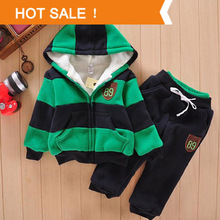 2015 Boys Girls Children Hoodies Winter Wool Sherpa Baby Sports Suit New   Jacket Sweater Coat & Pants Thicken Kids Clothes Sets