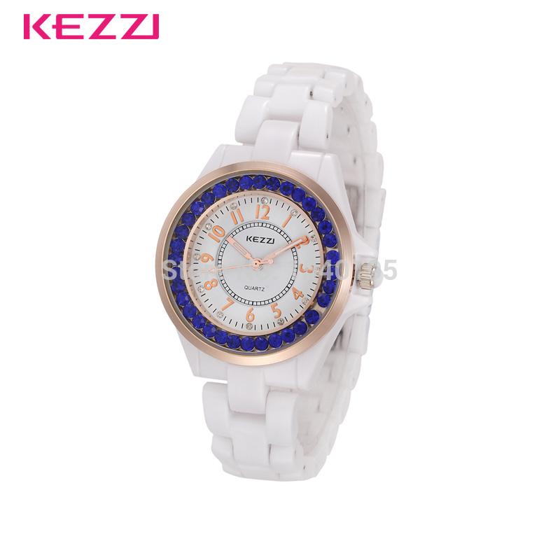 100% genuine 2015 KEZZI white Ceramic Diamonds Watch Women Analog Quartz Watch Luxury Chic stylish Watches K760 Free Shipping