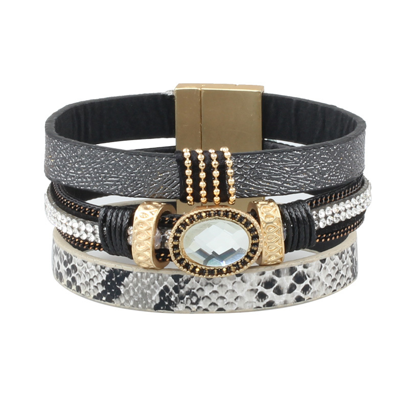 European and American Vintage Multilayer Two-color Leather Rhinestone Bracelets Hot new products Pulseiras&Braceletes(China (Mainland))