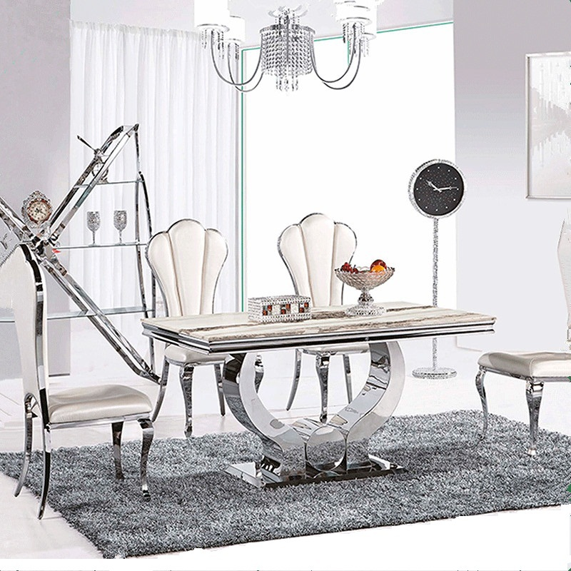 4 person dining table and chair marble top dining table sets stainless steel home furniture(China (Mainland))