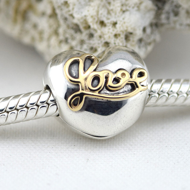 925 стерлингового серебра в форме сердца любовь клипы серебряный бусины с 14 К золото подходит пандора оригинальный подвески браслеты DIY ювелирных украшений