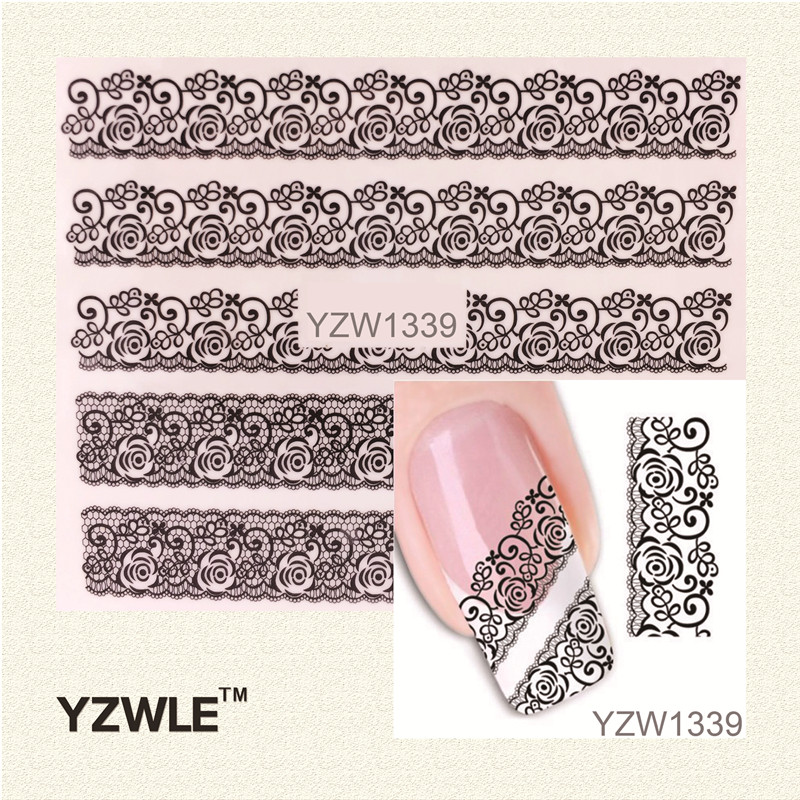 YZWLE Black Lace Flowers Watermark Nail Sticker, Water Transfer Nail Decals For UV Gel Polish Nail Decoration Tools(China (Mainland))