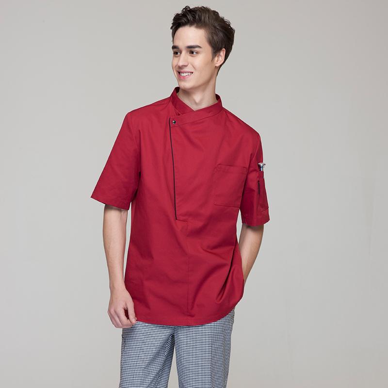 New Restaurant Hotel Kitchen Chef Jackets Coats Uniform Short Sleeves Breathe Freely White Black Red WIne Color Unisex(China (Mainland))