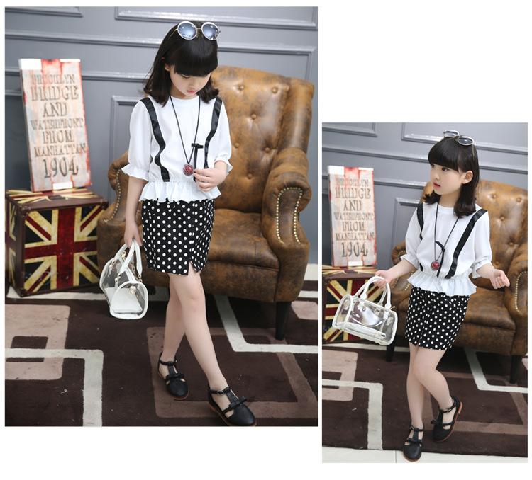 2016 new summer girl's clothing set girl's blouses and skirts childern's set girl's skirts summer dress 16343