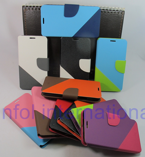 Color 2 Strip Wallet Magnetic Skin Cover Pouch Stone Sand Grain Card Slot Purse Bag Case for Galaxy Chat B5330 5330 Free(China (Mainland))