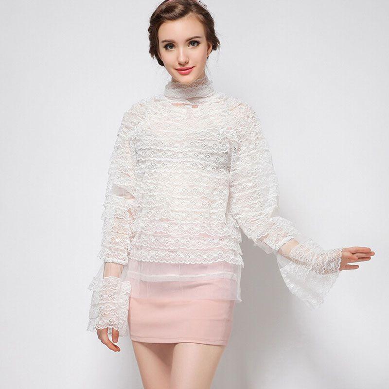 2016 new runway brand fashion sweet lady black white loose plus size mesh chiffon long sleeve eyelash lace blouse shirt 3428(China (Mainland))