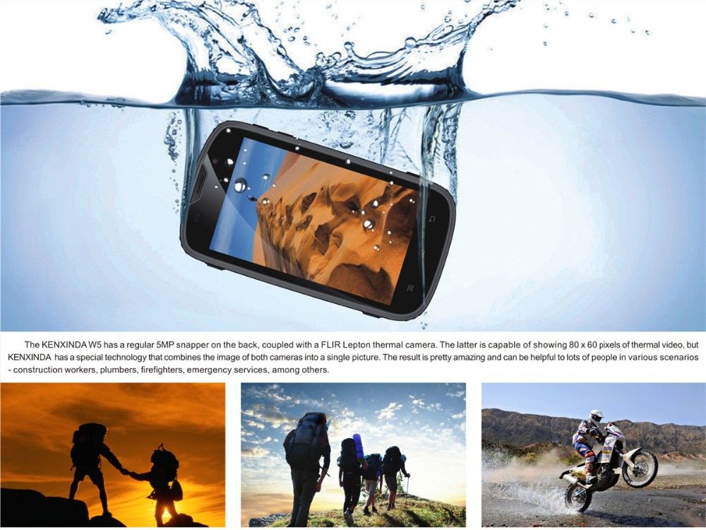 Kenxinda Flattop W5 Waterproof IP68 Smartphone MTK6735 Quad Core Dual SIM Card 4.0 Touch Screen