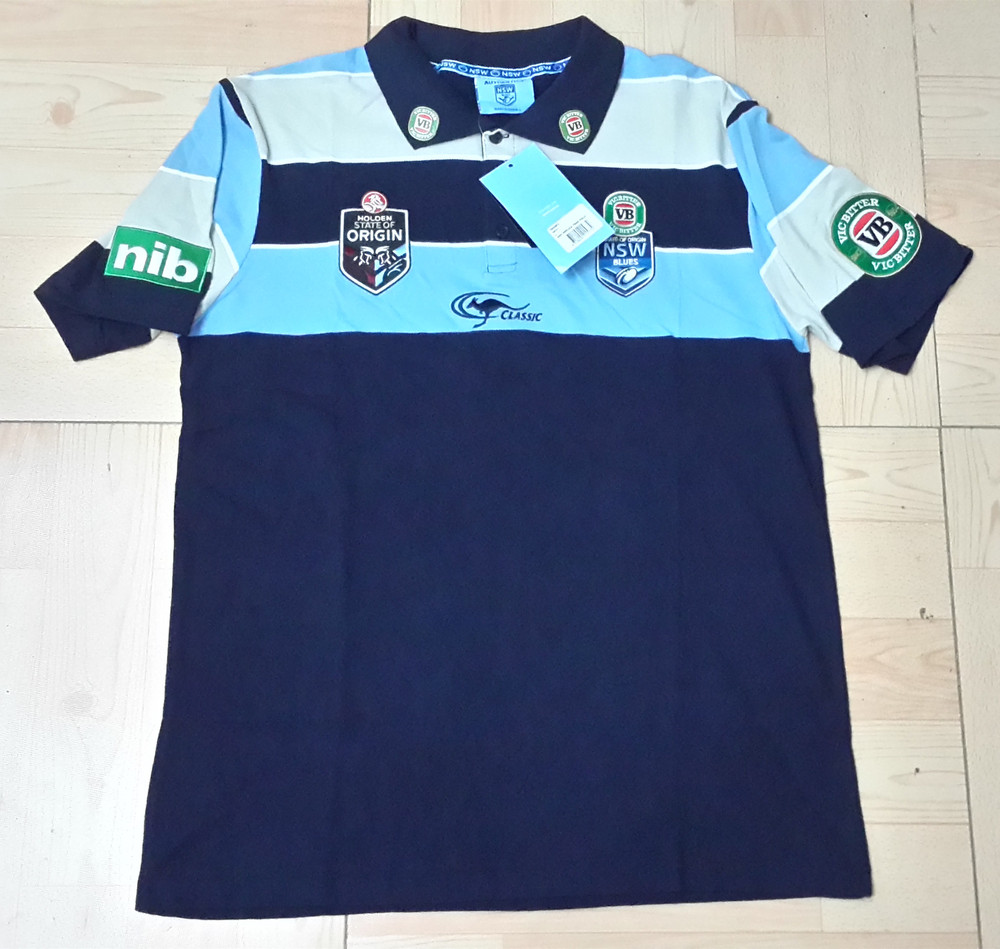 NSW BLUES 2015 MEN'S OFFICIAL STRIPE TEAM Rugby Jersey New South Wales Rugby Shirt Navy 100% Cotton(China (Mainland))