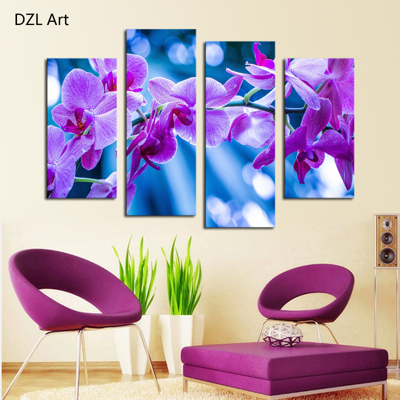 Dreamy Purple Flower Wall Art Picture Home Decoration Living Room Canvas Print Painting Printing - DZL store