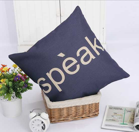 Blue letters children interest cotton and linen pillow contracted car comfortable household sofa cushion for leaning on(China (Mainland))