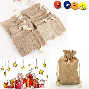 Christmas Party Burlap Jute Sacks Vintage Weddings Parties Favor With Drawstrings Gift Bags Packaging Bag