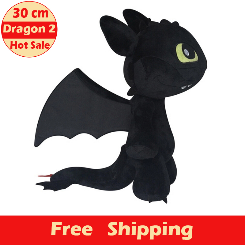30cm Size Free Shipping New Arrival Hot Sale & Fashion Train Your Dragon 2 Night Fury Plush Toy Toothless Dragon Dolls for Kids(China (Mainland))