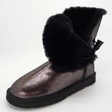 Envío libre clásico zurriago impermeable de cuero genuino botas para la nieve zapatos de invierno para las mujeres(China (Mainland))