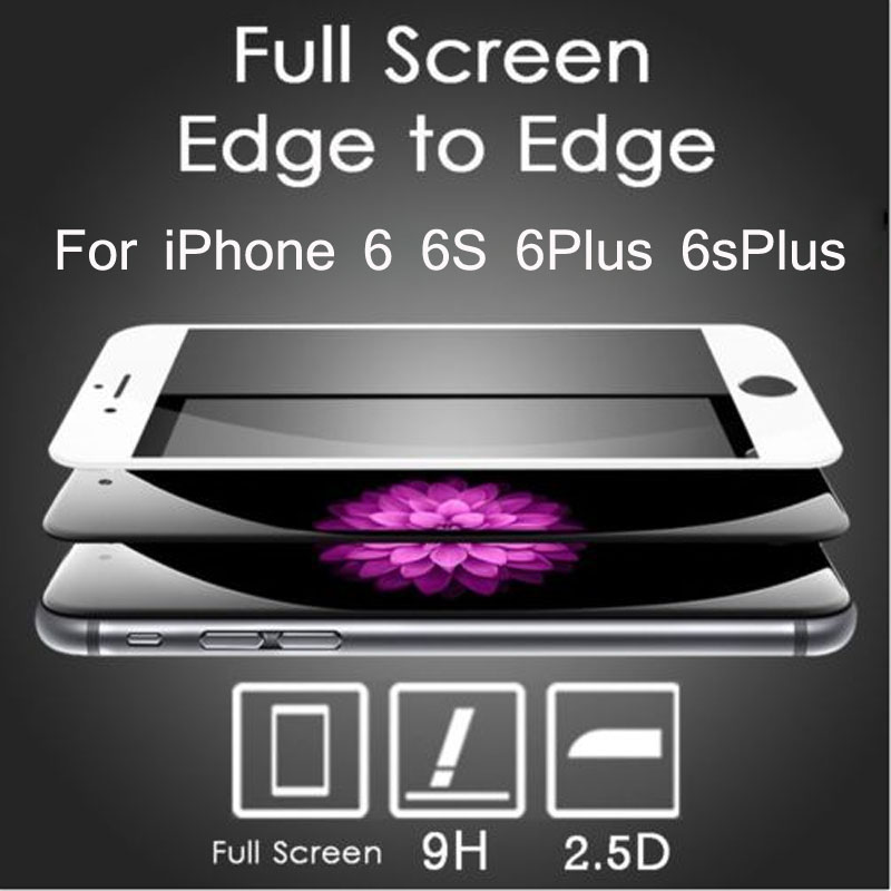 3D Full Coverage Colorful Tempered Glass Screen Protector Film For iPhone 6 6S 6Plus 6sPlus Protective Toughened Film(China (Mainland))