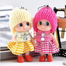 1Pcs 8CM Height Colorful Kawaii Mini Plush Dolls With Kilt Hat Phone Hanging Straps For Kids Toys Gift