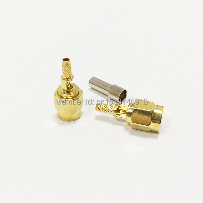 SMA Male Plug Open sunroof RF Coax Connector Crimp RG316,RG174,LMR100 Straight Goldplated NEW wholesale(China (Mainland))