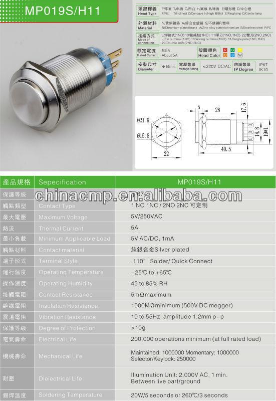 manufacturer export 120pcs CMP brand 19mm MP19S/H11 slot machine push button(China (Mainland))