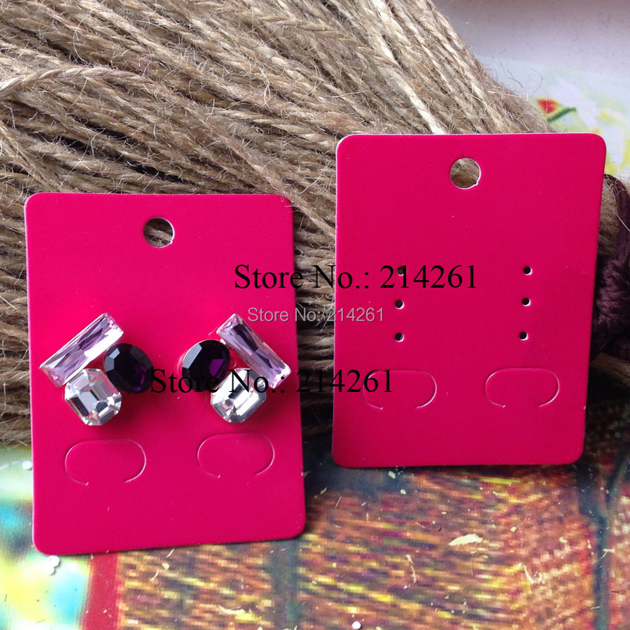 2015 New DIY Fashion Earring card Hot Pink Jewelry Display Card Custom Logo Earring Card Custom Cost Extra MOQ : 2000PCS(China (Mainland))