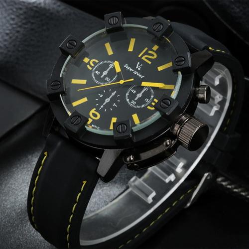 V6 Vogue Fashion 3D Case Luxury Black Clock Male Quartz Watches Male Outdoor Analog Military Men's Sport Watch Relogio Masculino(Hong Kong)