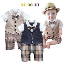 Baby boy romper baby clothes College waistcoat bebes infant Gentleman romper Toddler kid s jumpsuit newborn