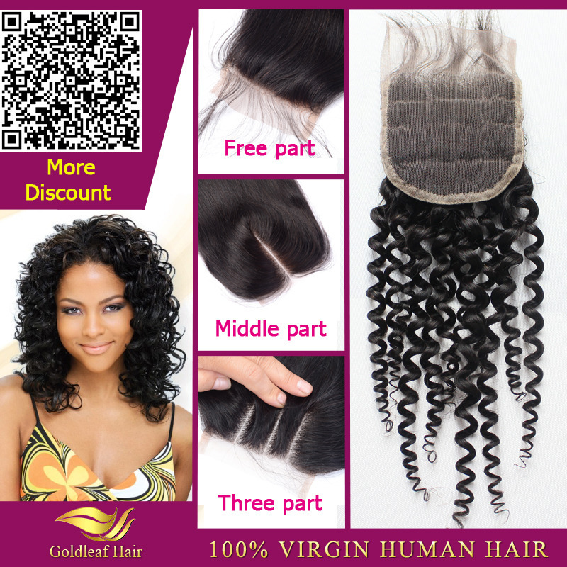 Virgin Brazilian Jerry Curl Lace Closure 4x4 Top Quality Free/Middle/3 Three Way Part 10/12/14/16/18 Inch Closure With Baby Hair(China (Mainland))