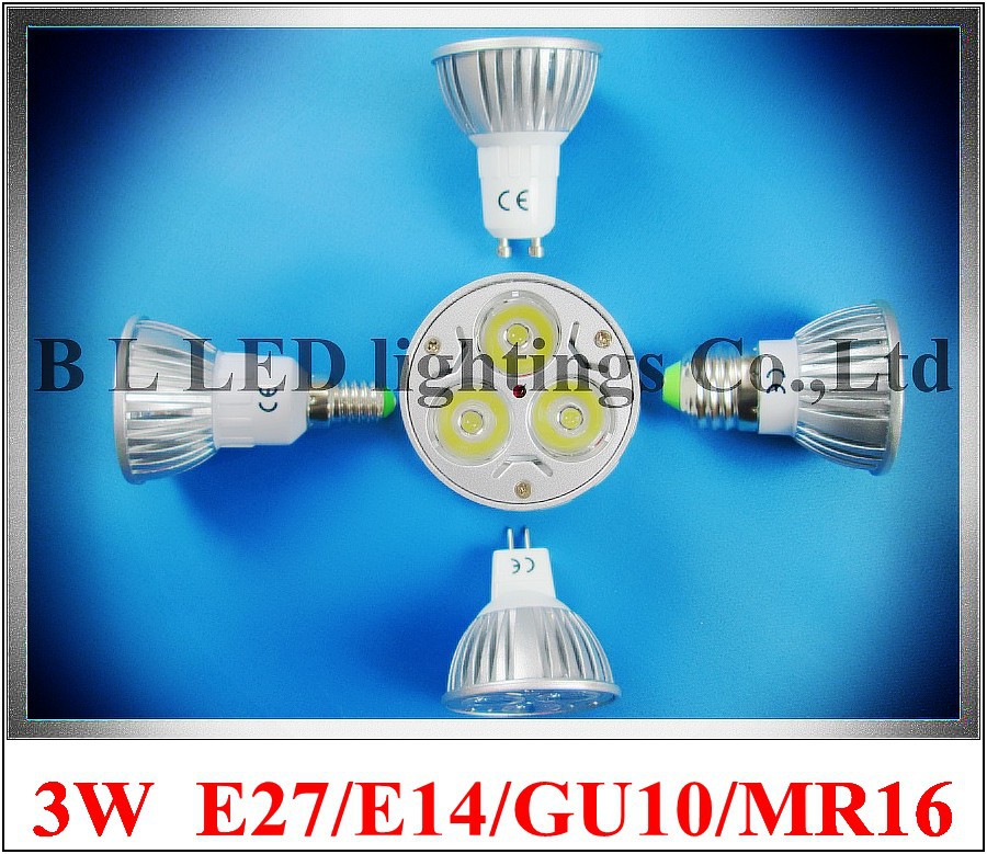 LED spotlight spot light 3W LED bulb light lamp lighting cup E14 / E27 / GU10 / GU5.3(MR16) AC85-265V CE ROHS die-cast aluminum(China (Mainland))