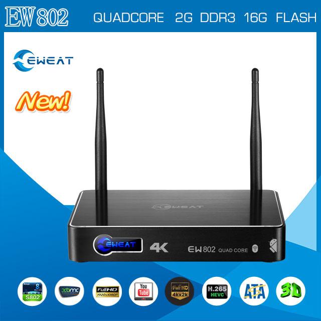 Android TV Box Eweat EW802 Amlogic S802 Quadcore Mini PC Google Kitkat Smart Media Player 4K XBMC IPTV Free Shipping(China (Mainland))