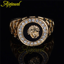 Ajojewel Brand Best Selling High Quality CZ Diamond Superhero Black Men Ring Gold Plated(China (Mainland))