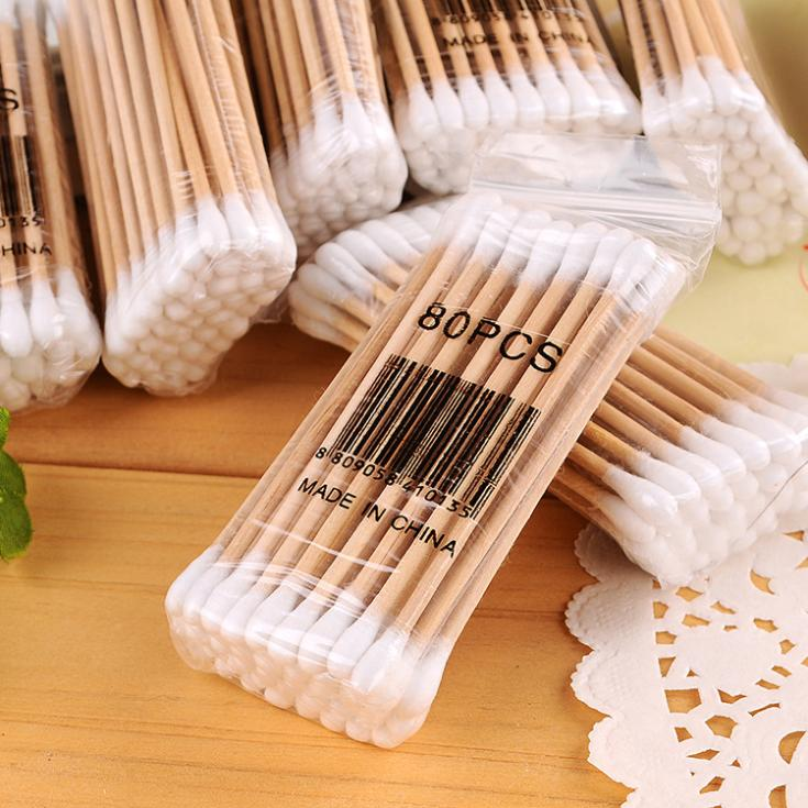 F034 40pcs/pack High Quality Double Head Health Makeup Cosmetics Ear Clean Jewelry Clean Cotton Swab Stick Drop Shipping(China (Mainland))
