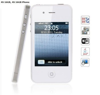 3.2 inch 4S 16GB Wifi Java Dual Cards Touch Screen Cell Phone (WHITE)